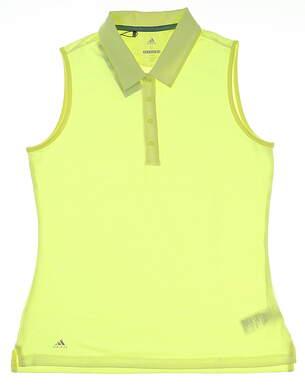 New Womens Adidas Ultimate 365 Sleeveless Golf Polo Medium M Yellow MSRP $55 CE3