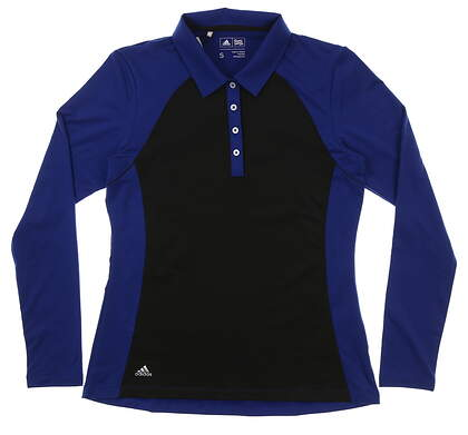 New Womens Adidas Long Sleeve Golf Polo Small S Black/Blue MSRP $70 CF 9310