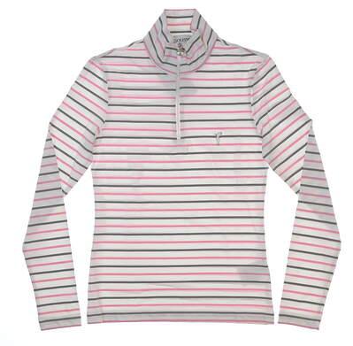 New Womens Golfino Melissa Troyer1/2 Zip Golf Pullover XX-Small XXS White/Pink/Gray MSRP $140