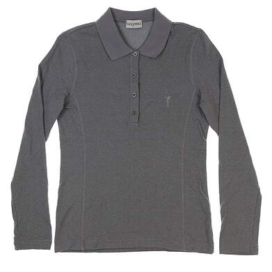 New Womens Golfino Brushed Sun Protection Long Sleeve Golf Polo X-Small XS Gray MSRP $99 1339024