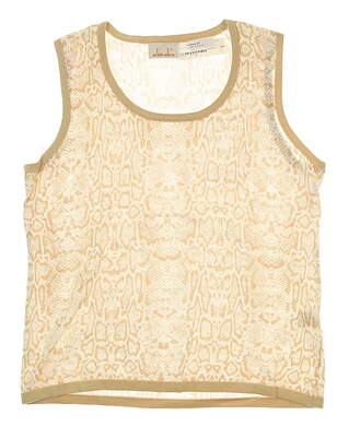 New Womens EP Pro Snake Skin Print Sweater Vest Large L Tan/White MSRP $85