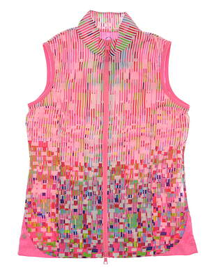 New Womens EP Pro Coachella Golf Vest Small S High Voltage Pink Multi MSRP $118 3116SGA