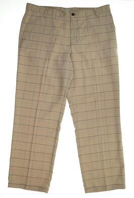 New Mens Adidas Performance Plaid Pants 38x32 Tan MSRP $85
