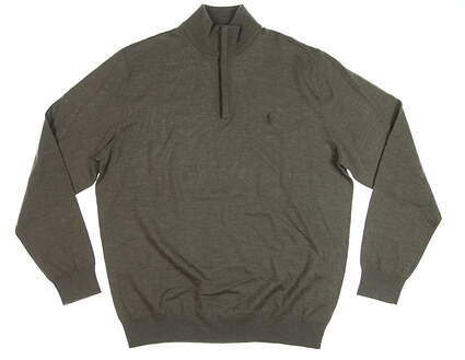 New Mens Ralph Lauren 1/4 Zip Golf Sweater Large L Brown MSRP $98