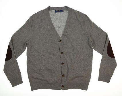 New Mens Ralph Lauren Cardigan Large L Gray MSRP $98