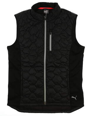 New Mens Puma PWRWARM Quilted Vest Medium M Black MSRP $120 576116