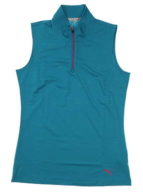 New Womens Puma Sleeveless Mock Golf Polo Small S Blue MSRP $50 577929 04