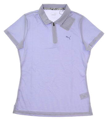 New Womens Puma Soft Stripe Golf Polo Small S Sweet Lavender MSRP $55 577921 04