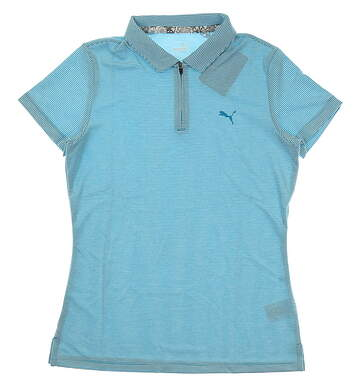 New Womens Puma Soft Stripe Golf Polo Small S Caribbean Sea MSRP $55 577921 01