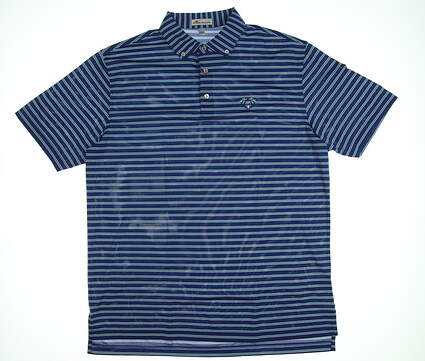 New W/ Logo Mens Peter Millar Golf Polo Large L Blue MSRP $91 MF18EK61C