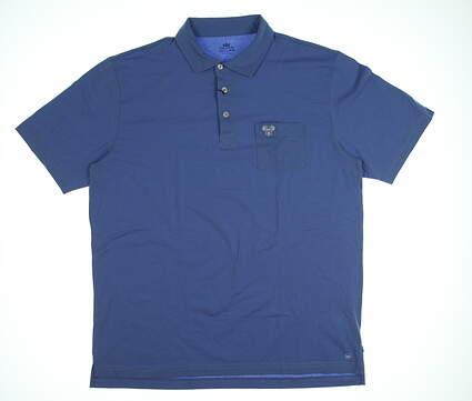 New W/ Logo Mens Peter Millar Seaside Wash Polo Large L Blue MSRP $72 MF18K70P