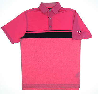 New W/ Logo Mens Footjoy Color Block Space Dye Polo Medium M Island Pink MSRP $82 25626