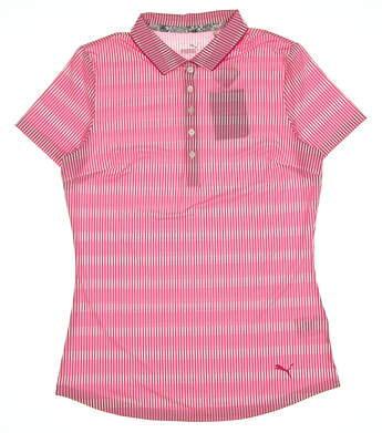 New Womens Puma Forward Tees Golf Polo Small S Fuchsia MSRP $60 577923 02