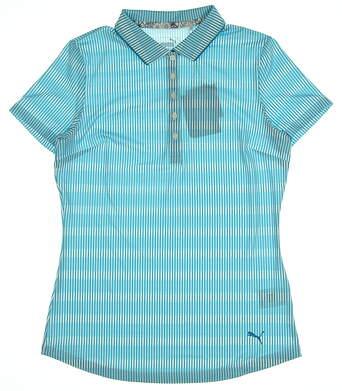 New Womens Puma Forward Tees Golf Polo Small Caribbean Sea MSRP $60 577923 01