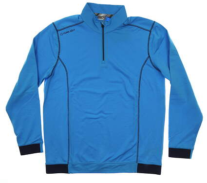 New Mens Puma PWRWARM 1/4 Zip Pullover Medium M Bleu Azur MSRP $80 577905 04