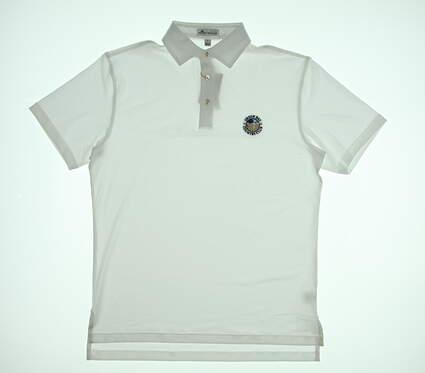 New W/ Logo Mens Peter Millar Golf Polo Small S White MSRP $90 ME0EK01S