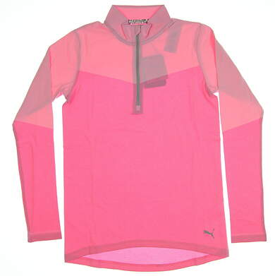 New Womens Puma Evoknit 1/4 Zip Golf Pullover Small S Pale Pink Heather MSRP $75 577939 03