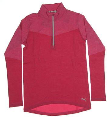 New Womens Puma Evoknit 1/4 Zip Golf Pullover Small S Fuchsia Purple Heather MSRP $75 577939 02