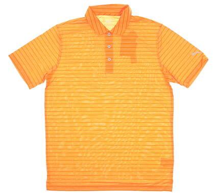 New Mens Puma Proven Stripe Polo Medium M Vibrant Orange MSRP $75 577974 10