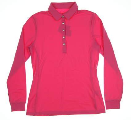 New Womens Puma Long Sleeve Golf Polo Small Carmine Rose MSRP $55 576155 03