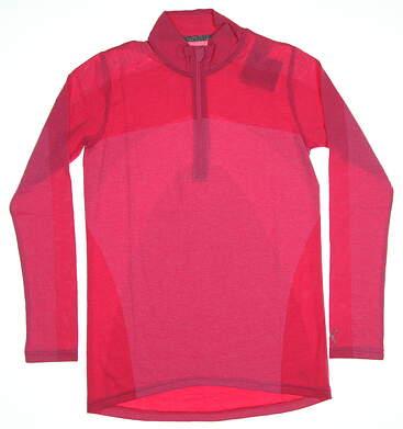 New Womens PumaEvoknit 1/4 Zip Golf Pullover Small Carmine Rose MSRP $75 574645 08