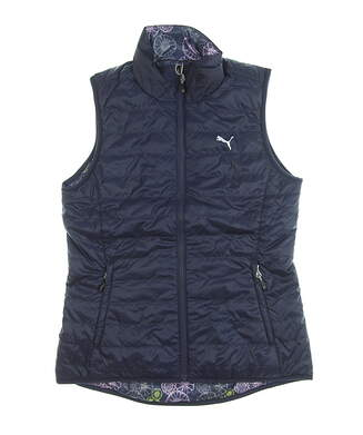 New Womens Puma PWRWARM Reversible Golf Vest Small S Blue/Multi MSRP $98 573285 07