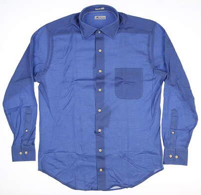 New Mens Peter Millar Button Up Blue MF18W44CSL