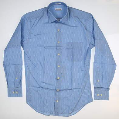 New Mens Peter Millar Button Up Medium M Blue MF18W46CSL