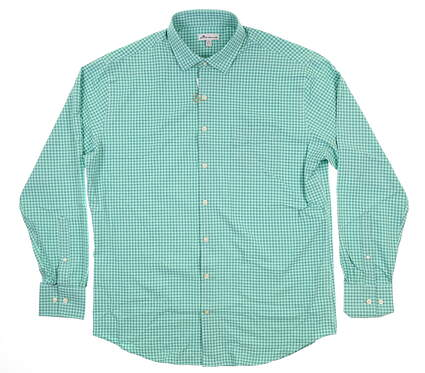 New Mens Peter Millar Button Up Large L Green Check MF18EW70SL MSRP $134.99