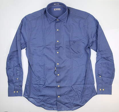 New Peter Millar Spoke Easy Button Up Large L Plaza Blue MF18W44CSL MSRP $145