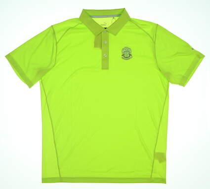 New W/ Logo Mens Puma Golf Polo Medium M Green 570453 36 MSRP $55
