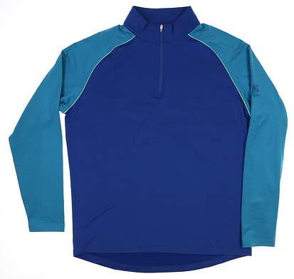New W/ Logo Peter Millar Golf 1/4 Zip Pullover Blue MSRP $125 MF18EK43