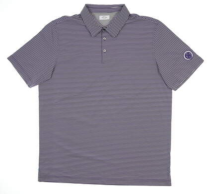 New W/ Logo Adidas Golf Polo Large L Purple Stripe BC7295 MSRP $85