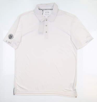New W/ Logo Mens Adidas Golf Polo Medium M White BC1837 MSRP $70