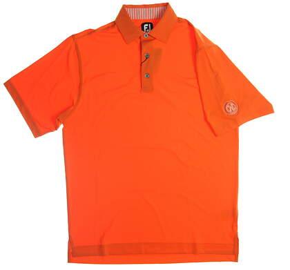 New W/ Logo Mens Footjoy Golf Polo Medium M Orange MSRP $76