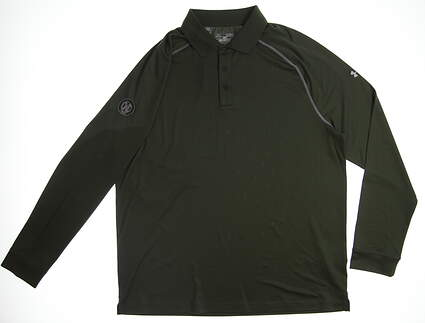 New W/ Logo Mens Under Armour Long Sleeve Golf Polo X-Large XL Green UM2089 MSRP $70