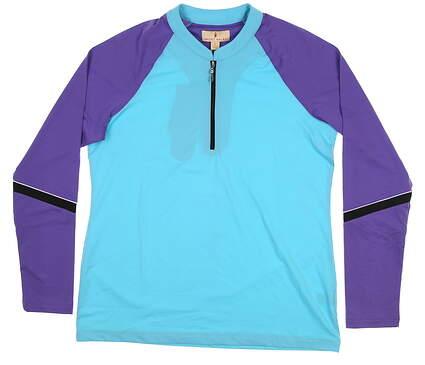 New Womens Sport Haley 1/4 Zip Pullover Large L Blue/Purple H37205TM MSRP $79.99