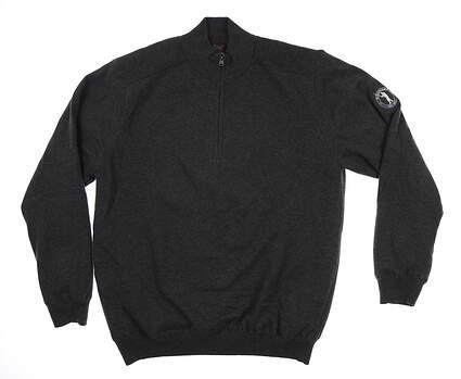 New W/ Logo Mens Greg Norman 1/4 Zip Golf Sweater Large L Dark Gray MSRP $100