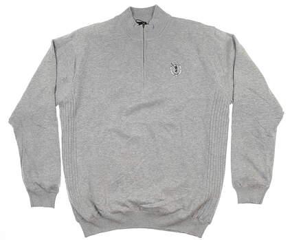 New W/ Logo Mens Greg Norman 1/4 Zip Golf Sweater X-Large XL Light Grey MSRP $100