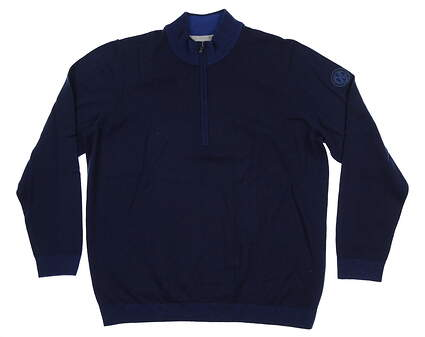 New W/ Logo Mens Adidas 1/4 Zip Golf Sweater X-Large XL Navy Blue CD3864 MSRP $145