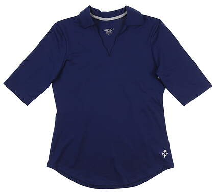 New Womens Jo Fit Scallop 1/2 Sleeve Polo Small S Navy Blue GT133 MSRP $79.99