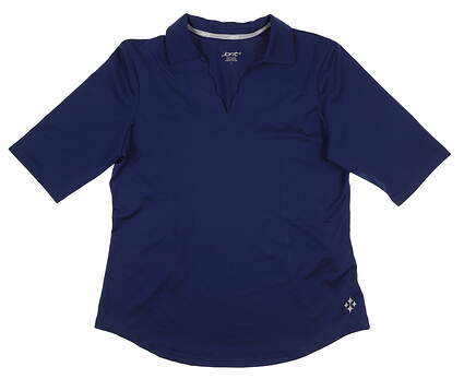 New Womens Jo Fit Scallop 1/2 Sleeve Polo Large L Navy Blue GT133 MSRP $79.99
