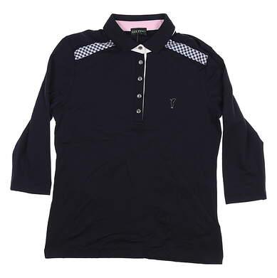 New Womens Golfino 3/4 Sleeve Dry Comfort Polo Medium M/L Black 6230921 MSRP $138.99