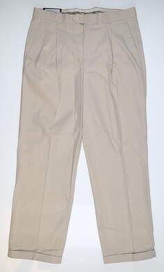 New Mens Fairway & Greene Resistant Pleated Trouser Pants 34 x30 Stone 071130 MSRP $71.99