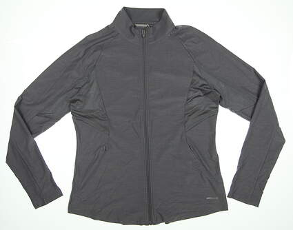 New Womens Cutter & Buck Annika Full Zip Mock Neck Medium M Zinc Gray LAK0 MSRP $78.99