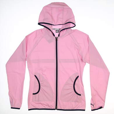 New Womens Puma Zephyr Wind Jacket Small S Pale Pink/Navy Blue 577942 MSRP $74.99
