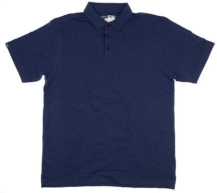 New Mens MATTE GREY Polo Large L Navy Blue S-110123 MSRP $79.99
