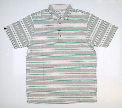 New Mens MATTE GREY Polo Large L Gray/White/Seafoam Green S-110121 MSRP $79.99