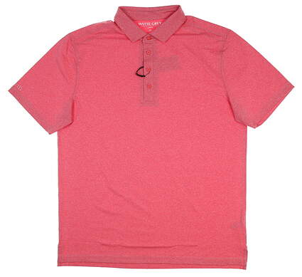 New Mens MATTE GREY Captain Golf Polo Large L Crimson Heather S-110102