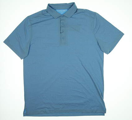 New Mens MATTE GREY Captain Polo Large L Glacier Blue Heather S-110102 MSRP $74.99